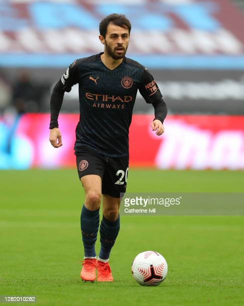 Bernardo Silva of Manchester City during the Premier League match between West Ham United and Manchester City at London Stadium on October 24 2020 in...