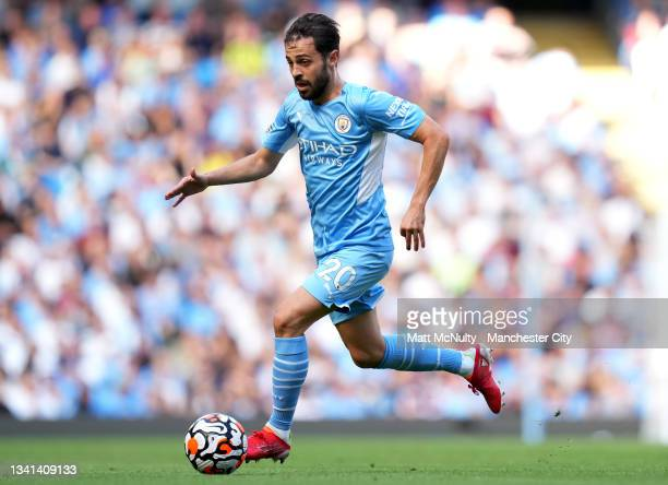 Bernardo Silva of Manchester City during the Premier League match between Manchester City and Southampton at Etihad Stadium on September 18, 2021 in...