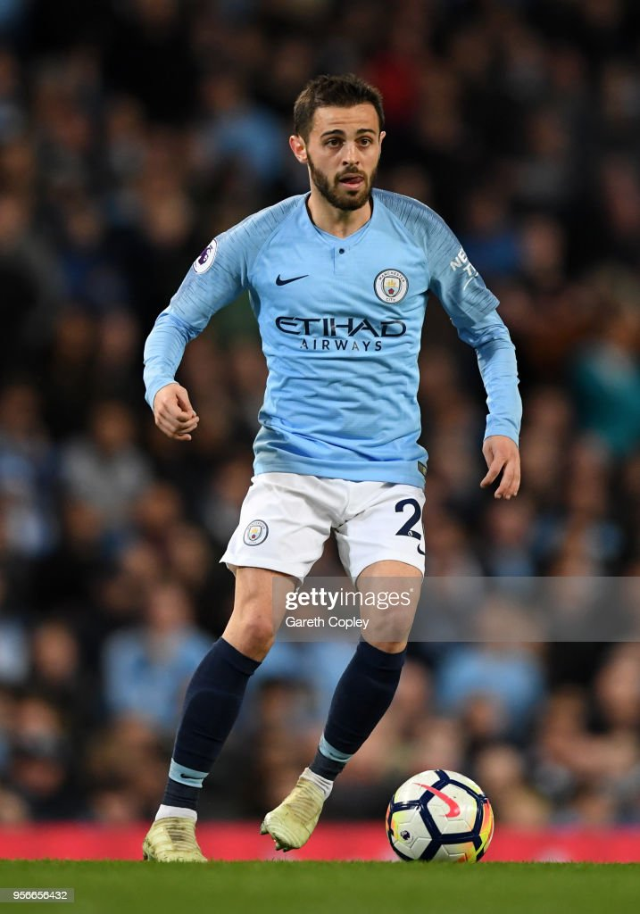 Bernardo Silva of Manchester City during the Premier League match between Manchester City and Brighton and Hove Albion at Etihad Stadium on May 9, 2018 in Manchester, England.