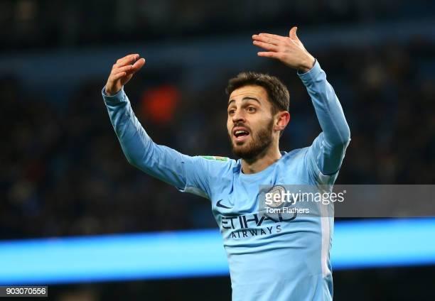 Bernardo Silva of Manchester City gestures during the Carabao Cup SemiFinal First Leg match between Manchester City and Bristol City at Etihad...