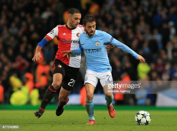 Bernardo Silva of Manchester City in action against Sofyan Amrabat of Feyenoord Rotterdam during the UEFA Champions League Group F soccer match...