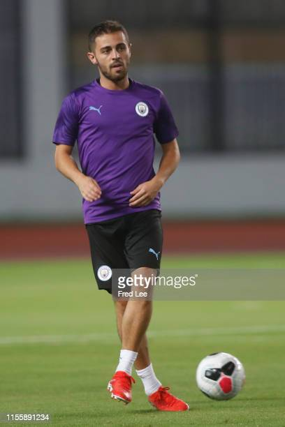 Bernardo Silva of Manchester City in action at a training session during the Premier League Asia Cup on July 16 2019 in Shanghai China