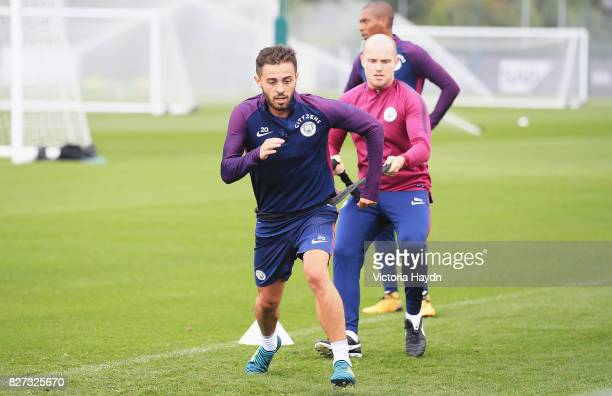 Bernardo Silva of Manchester City in action during a training session at Etihad Campus on August 7 2017 in Manchester England