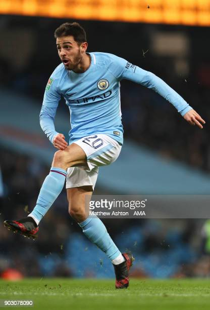 Bernardo Silva of Manchester City in action during the Carabao Cup SemiFinal first leg match between Manchester City and Bristol City at Etihad...