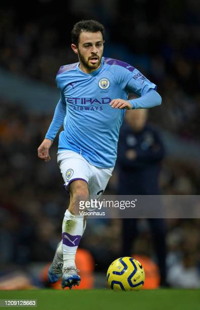 Bernardo Silva of Manchester City in action during the Premier League match between Manchester City and West Ham United at Etihad Stadium on February...