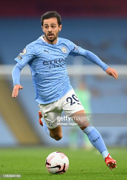 Bernardo Silva of Manchester City in action during the Premier League match between Manchester City and Arsenal at Etihad Stadium on October 17 2020...