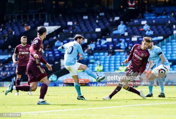 Bernardo Silva of Manchester City in action during the Premier League match between Manchester City and Leeds United at Etihad Stadium on April 10,...