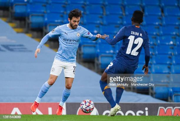 Bernardo Silva of Manchester City in action during the UEFA Champions League Group C stage match between Manchester City and FC Porto at Etihad...