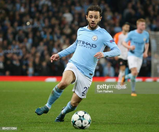 Bernardo Silva of Manchester City in action during the UEFA Champions League Group F match between Manchester City and Shakhtar Donetsk at Etihad...
