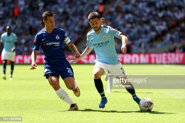 Bernardo Silva of Manchester City is challenged by Cesar Azpilicueta of Chelsea during the FA Community Shield between Manchester City and Chelsea at...