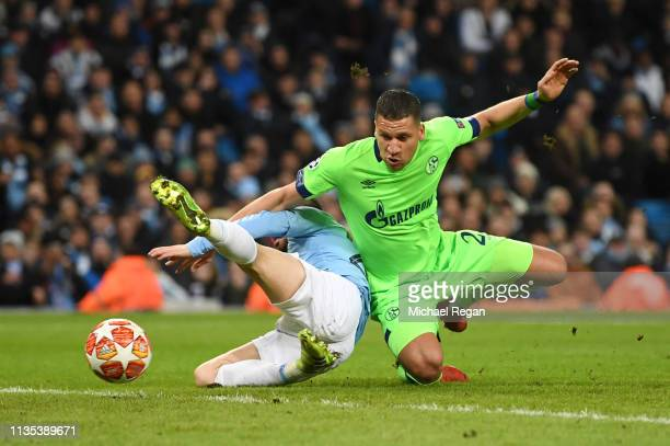 Bernardo Silva of Manchester City is fouled by Jeffrey Bruma of Schalke 04 and a penalty is later awarded during the UEFA Champions League Round of...