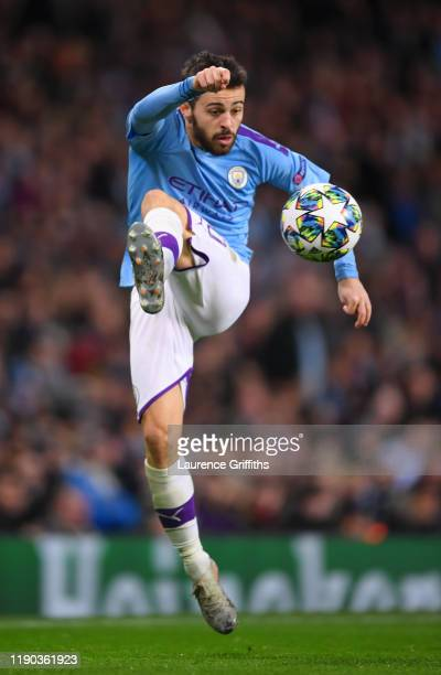 Bernardo Silva of Manchester City jumps to control the ball during the UEFA Champions League group C match between Manchester City and Shakhtar...