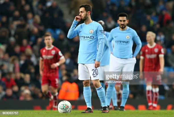 Bernardo Silva of Manchester City looks dejected after conceding the first goal during the Carabao Cup SemiFinal First Leg match between Manchester...