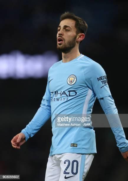 Bernardo Silva of Manchester City looks on during the Carabao Cup SemiFinal first leg match between Manchester City and Bristol City at Etihad...