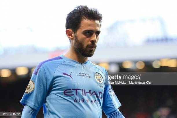 Bernardo Silva of Manchester City looks on during the Premier League match between Manchester United and Manchester City at Old Trafford on March 08...