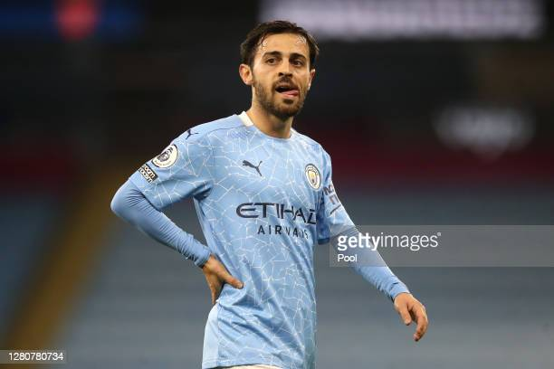 Bernardo Silva of Manchester City looks on during the Premier League match between Manchester City and Arsenal at Etihad Stadium on October 17 2020...