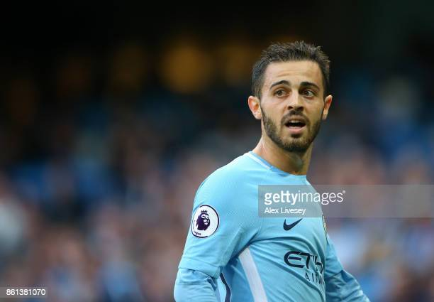 Bernardo Silva of Manchester City looks on during the Premier League match between Manchester City and Stoke City at Etihad Stadium on October 14...