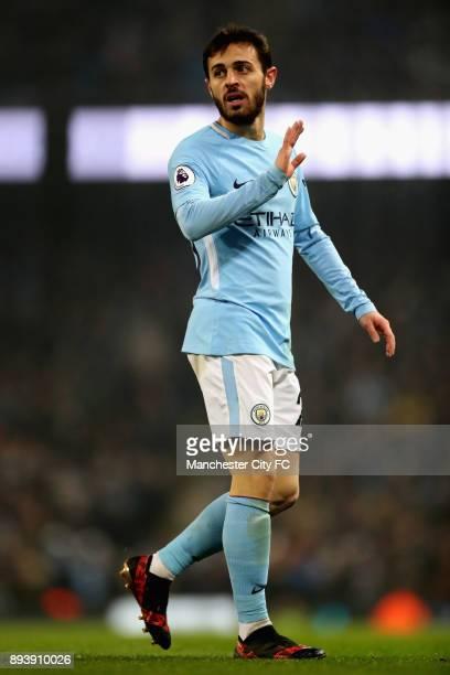 Bernardo Silva of Manchester City looks on during the Premier League match between Manchester City and Tottenham Hotspur at Etihad Stadium on...