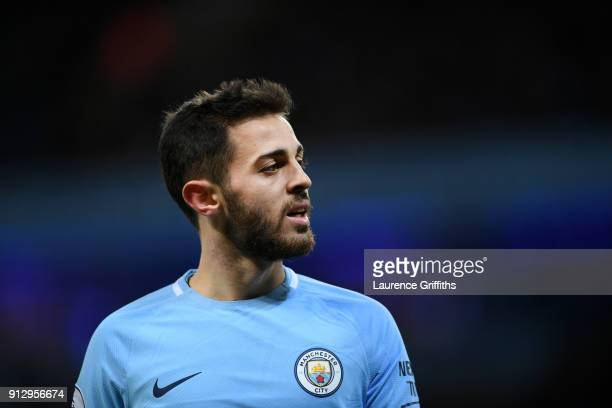 Bernardo Silva of Manchester City looks on during the Premier League match between Manchester City and West Bromwich Albion at Etihad Stadium on...