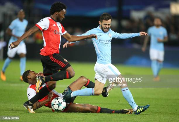 Bernardo Silva of Manchester City Miquel Nelom and JeanPaul Boetius of Feyenoord during the UEFA Champions League match between Feyenoord Rotterdam...