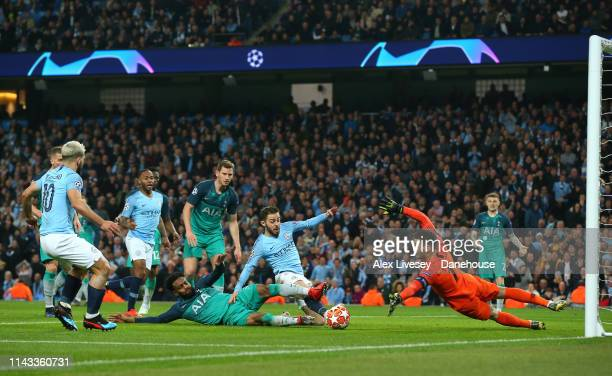 Bernardo Silva of Manchester City misses a goalscoring chance during the UEFA Champions League Quarter Final second leg match between Manchester City...