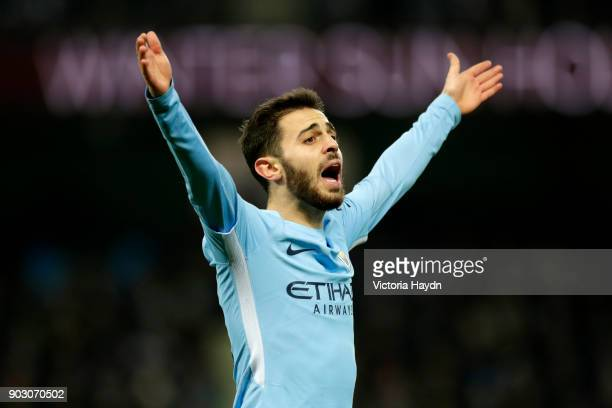 Bernardo Silva of Manchester City reacts during the Carabao Cup SemiFinal First Leg match between Manchester City and Bristol City at Etihad Stadium...