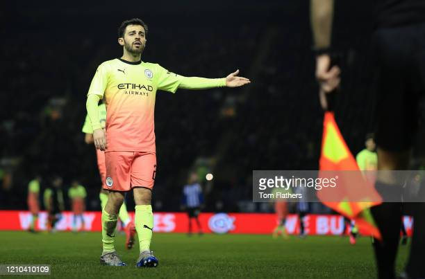 Bernardo Silva of Manchester City reacts during the FA Cup Fifth Round match between Sheffield Wednesday and Manchester City at Hillsborough on March...