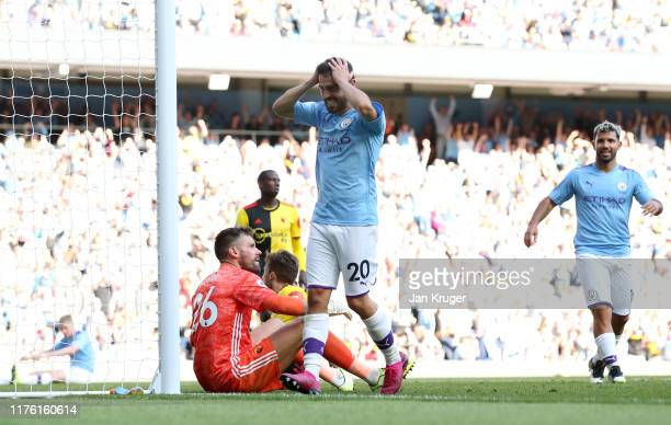 Bernardo Silva of Manchester City reacts during the Premier League match between Manchester City and Watford FC at Etihad Stadium on September 21,...