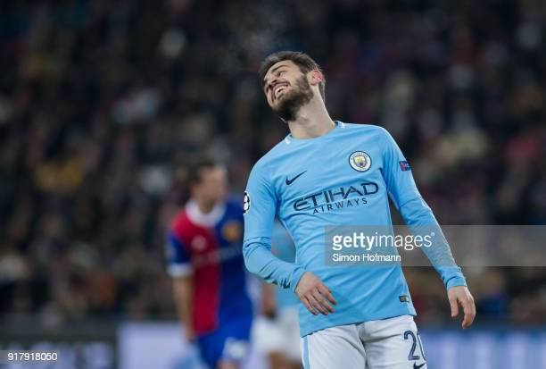 Bernardo Silva of Manchester City reacts during the UEFA Champions League Round of 16 First Leg match between FC Basel and Manchester City at St...