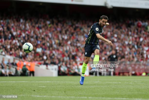 Bernardo Silva of Manchester City scores a goal to make it 02 during the Premier League match between Arsenal FC and Manchester City at Emirates...