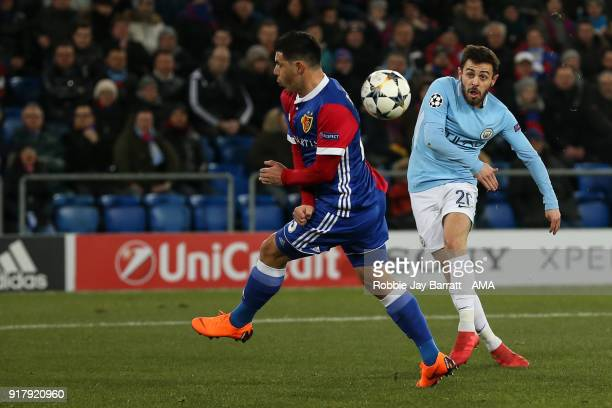 Bernardo Silva of Manchester City scores a goal to make it 02 during the UEFA Champions League Round of 16 First Leg match between FC Basel and...