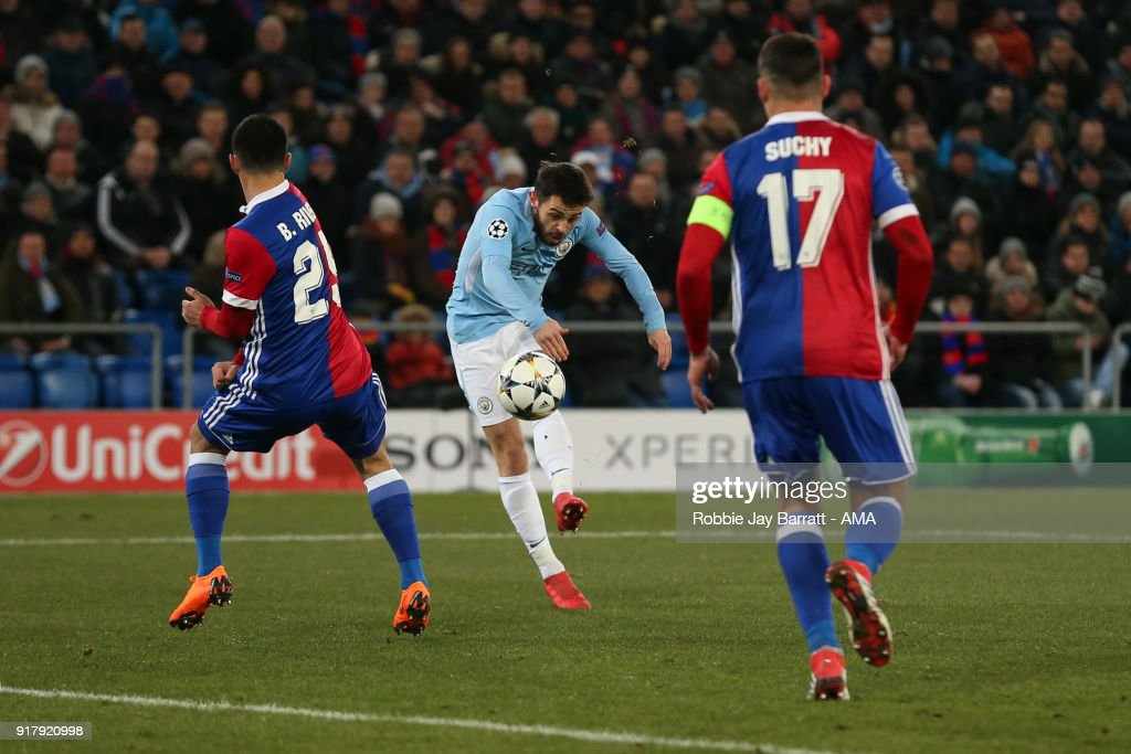 Bernardo Silva of Manchester City scores a goal to make it 0-2 during the UEFA Champions League Round of 16 First Leg match between FC Basel and Manchester City at St. Jakob-Park on February 13, 2018 in Basel, Switzerland.