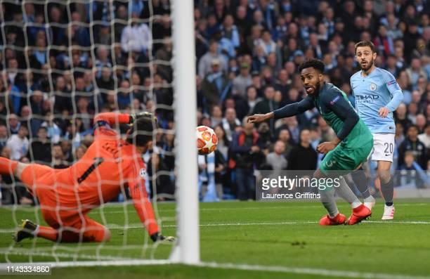 Bernardo Silva of Manchester City scores his team's second goal past Hugo Lloris of Tottenham Hotspur during the UEFA Champions League Quarter Final...