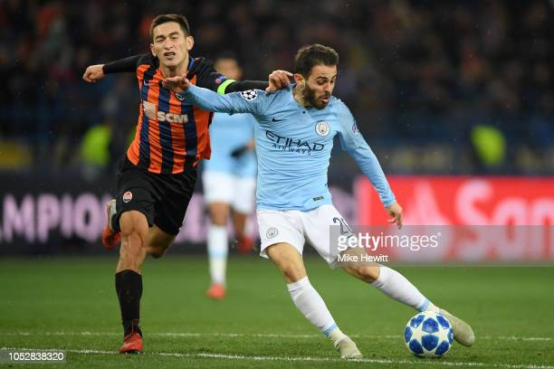 Bernardo Silva of Manchester City scores his team's third goal during the Group F match of the UEFA Champions League between FC Shakhtar Donetsk and...
