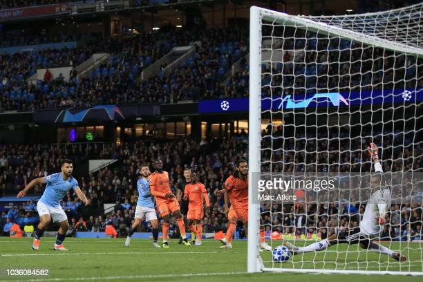 Bernardo Silva of Manchester City scores their 1st goal during the Group F match of the UEFA Champions League between Manchester City and Olympique...