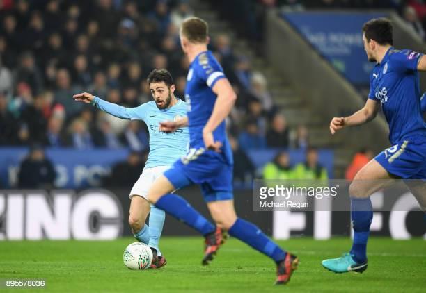 Bernardo Silva of Manchester City scores their first goal during the Carabao Cup QuarterFinal match between Leicester City and Manchester City at The...