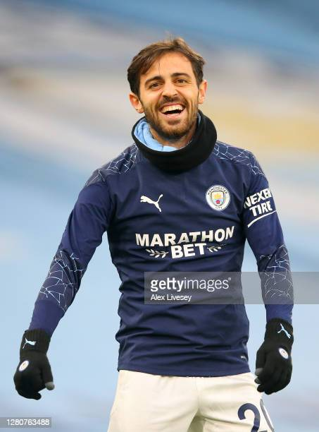 Bernardo Silva of Manchester City smiles prior to the Premier League match between Manchester City and Arsenal at Etihad Stadium on October 17 2020...