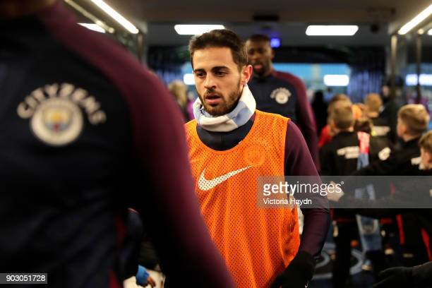 Bernardo Silva of Manchester City walks in the tunnel prior to the Carabao Cup SemiFinal First Leg match between Manchester City and Bristol City at...