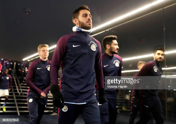 Bernardo Silva of Manchester City walks in the tunnel with team mates prior to the Carabao Cup SemiFinal First Leg match between Manchester City and...