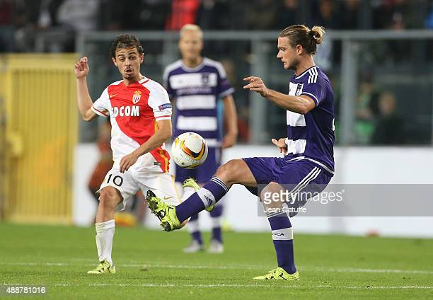 Bernardo Silva of Monaco and Guillaume Gillet of Anderlecht in action during the UEFA Europa League match between RSC Anderlecht and AS Monaco FC at...