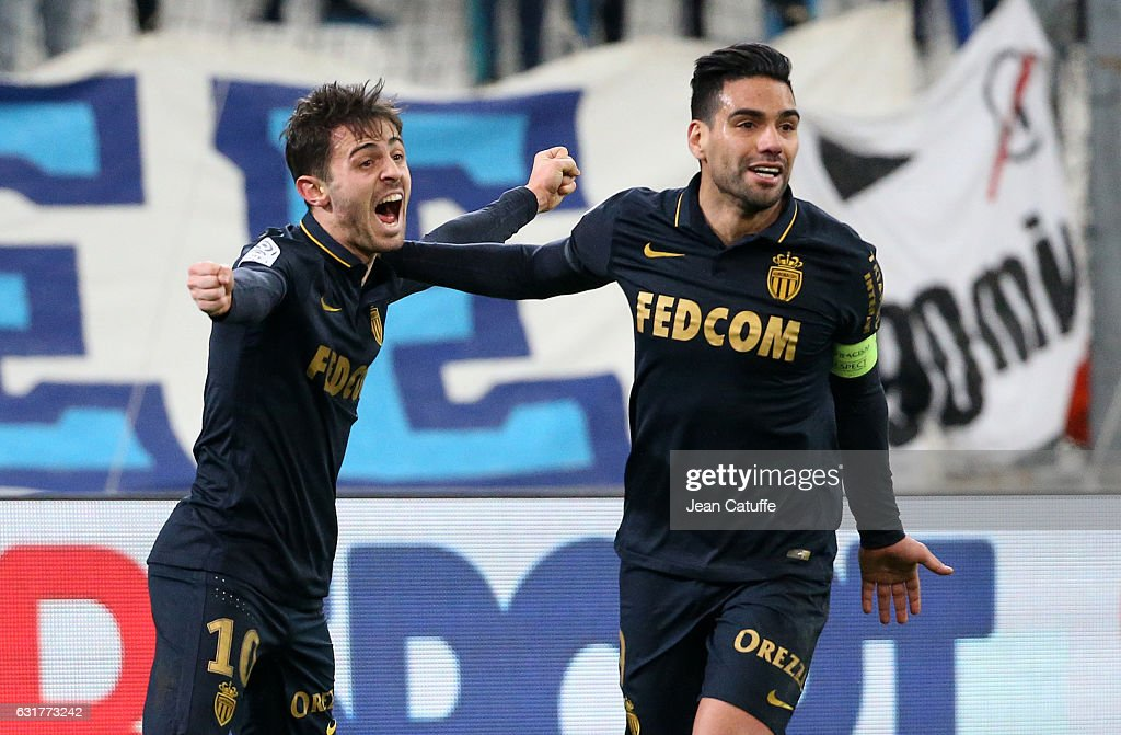 Bernardo Silva of Monaco celebrates his second goal with Radamel Falcao during the French Ligue 1 match between Olympique de Marseille and AS Monaco at Stade Velodrome on January 15, 2017 in Marseille, France.