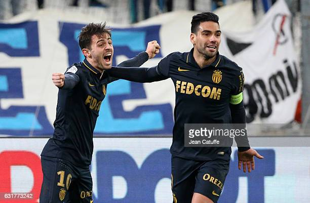 Bernardo Silva of Monaco celebrates his second goal with Radamel Falcao during the French Ligue 1 match between Olympique de Marseille and AS Monaco...