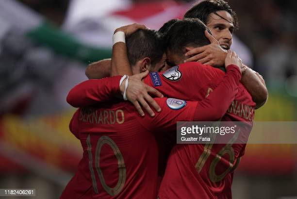 Bernardo Silva of Portugal and Manchester City celebrates with teammates after scoring a goal during the UEFA Euro 2020 Qualifier match between...