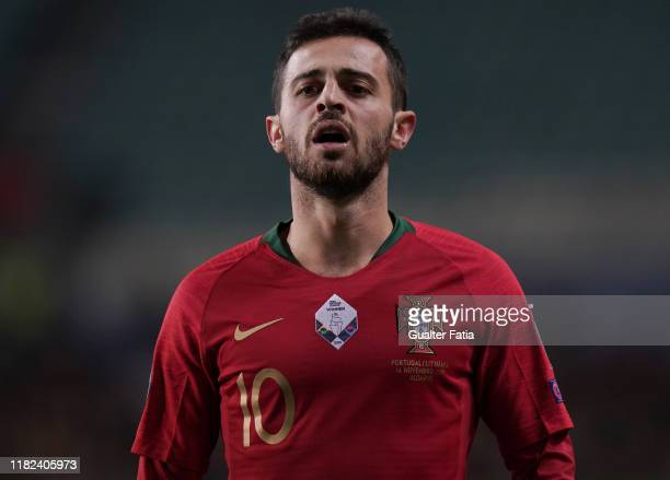 Bernardo Silva of Portugal and Manchester City during the UEFA Euro 2020 Qualifier match between Portugal and Lithuania at Estadio Algarve on...