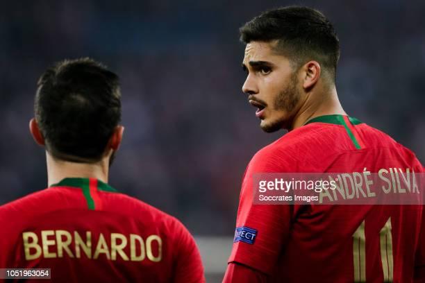 Bernardo Silva of Portugal Andre Silva of Portugal during the UEFA Nations league match between Poland v Portugal at the Slaski Stadium on October 11...