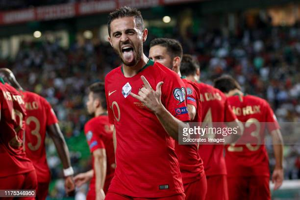 Bernardo Silva of Portugal celebrate his goal the 10 during the UEFA Nations league match between Portugal v Luxembourg at the Estádio José Alvalade...
