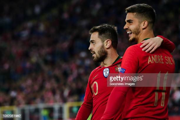 Bernardo Silva of Portugal celebrate his goal the 13 with Andre Silva of Portugal during the UEFA Nations league match between Poland v Portugal at...