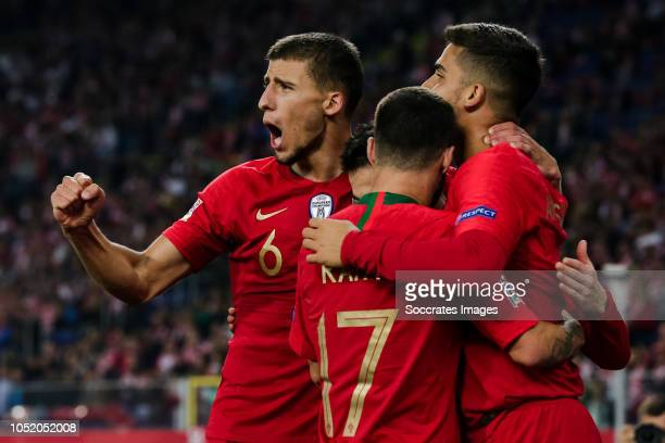 Bernardo Silva of Portugal celebrate his goal the 13 with Andre Silva of Portugal Rafa Silva of Portugal Ruben Dias of Portugal during the UEFA...