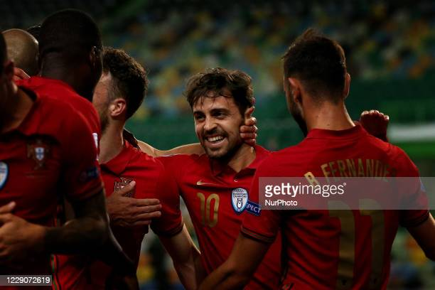 Bernardo Silva of Portugal celebrates after scoring a goal during the UEFA Nations League group stage match between Portugal and Sweden, at the Jose...