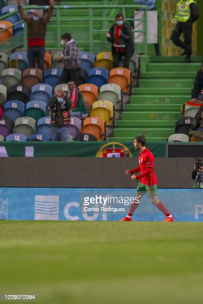 Bernardo Silva of Portugal celebrates scoring his team's first goal during the UEFA Nations League group stage match between Portugal and Sweden at...